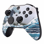 Xbox One Elite Series 2 Blue White Wave Front Shell - DevineCustomz customized controllers repairs parts