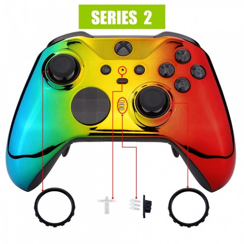 Xbox One Elite Series 2 Chrome Rasta Front Shell - DevineCustomz