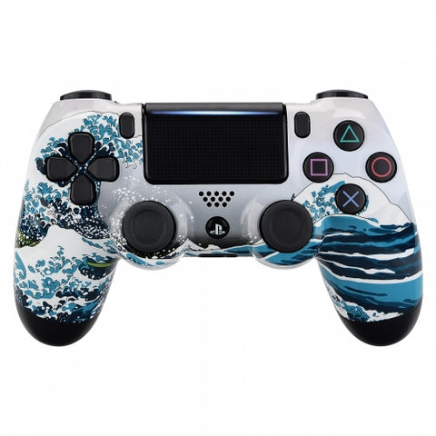 Customised PS4 controller Version 2 White Sea Wave - DevineCustomz customized controllers repairs parts