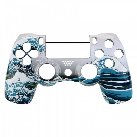 PS4 Controller Front Shell - White Sea Wave - DevineCustomz customized controllers repairs parts