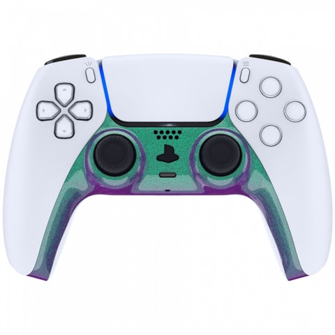PS5 Custom Replacement Controller Trim Faceplate - Chameleon Green & Purple Gloss