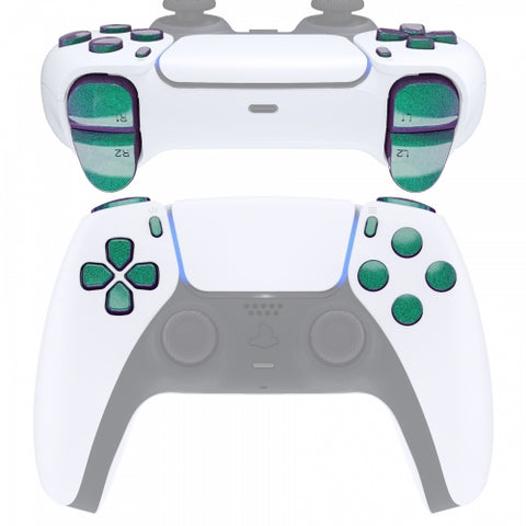 PS5 Next Gen Controller Chameleon Green & Purple Full Buttons Set