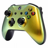 Xbox One Custom Chameleon Gold & Green Wireless Controller Front Shell - DevineCustomz customized controllers repairs parts