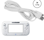 3m extra long charging cable lead for Nintendo Wii U Controller - White - DevineCustomz customized controllers repairs parts