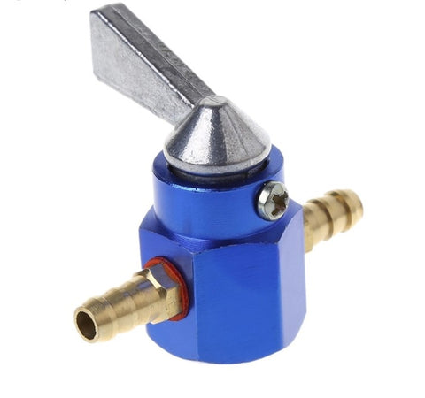 Universal 6mm In-Line Petrol / Fuel Tap Blue