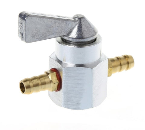 Universal 6mm In-Line Petrol / Fuel Tap Silver