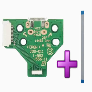 PS4 Controller USB Charge Port circuit Board 12 pin jds 011 and 12 pin cable - DevineCustomz customized controllers repairs parts