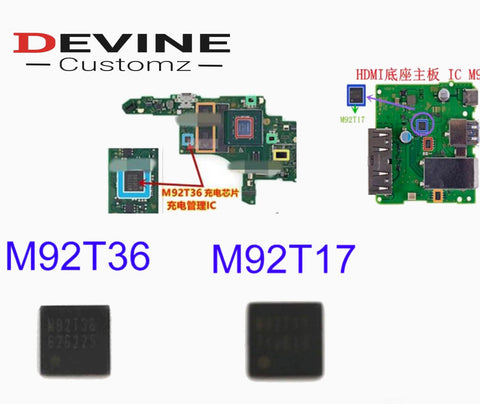 NS Switch Motherboard Image Power IC M92T36 Battery Charging Chip M92T17 Audio video control - DevineCustomz customized controllers repairs parts