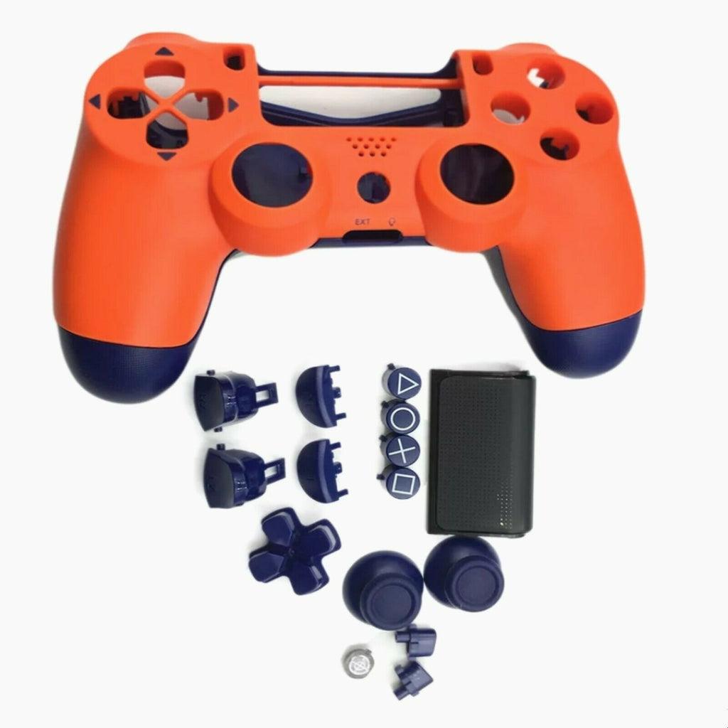 PS4 controller Orange & Blue limited edition Full Shell and button set - DevineCustomz customized controllers repairs parts