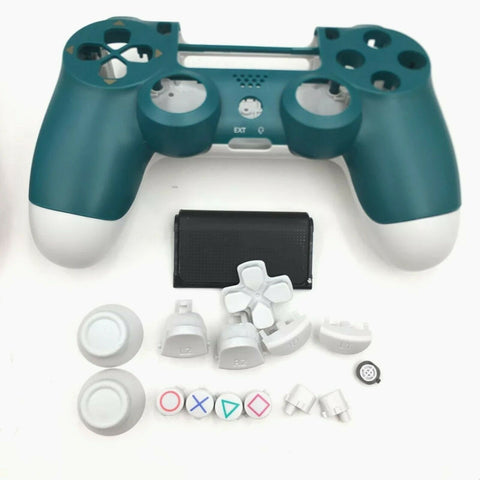 PS4 controller Green & White limited edition Full Shell and button set - DevineCustomz customized controllers repairs parts