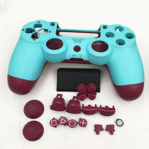 PS4 controller Blue & Red limited edition Full Shell and button set - DevineCustomz customized controllers repairs parts