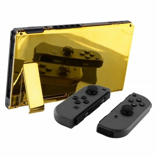 Nintendo Switch Custom Backplate With Stand -Chrome Gold - DevineCustomz customized controllers repairs parts