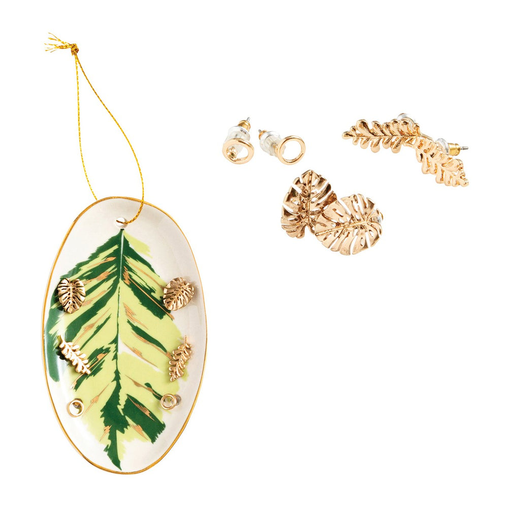 Leaf Earring Set with Trinket Dish