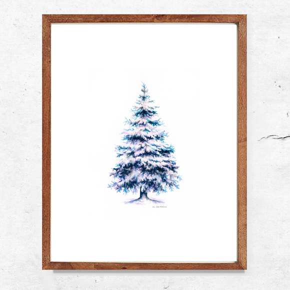 Winter Blue Spruce Tree Print