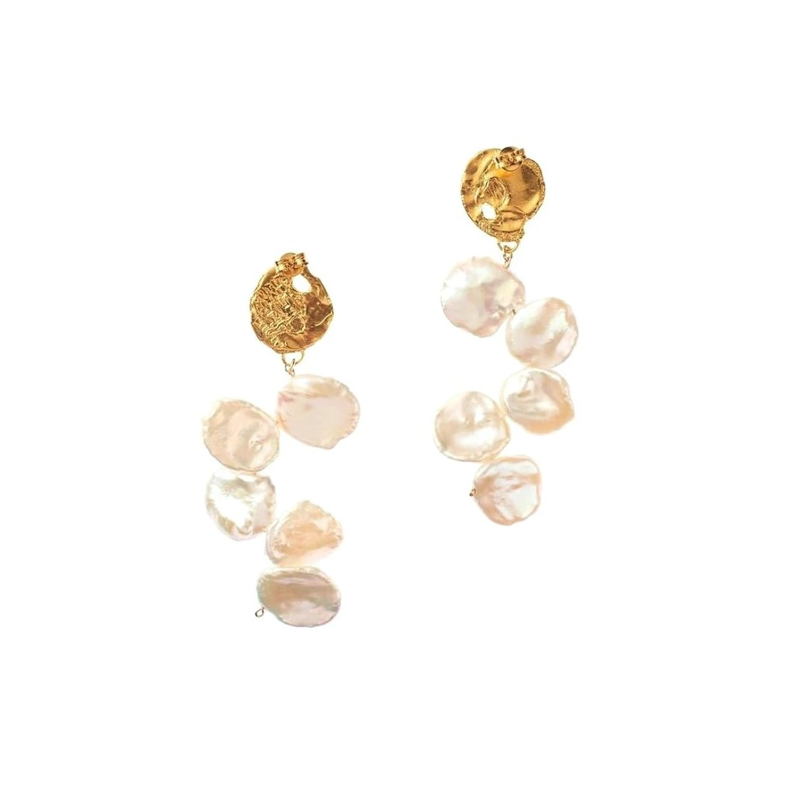 baroque pearl earrings dropped from golden seal motif displayed on white background