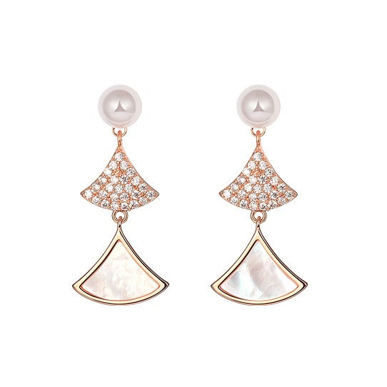 gorgeous zircon and mother of pearl earrings in double fan shape with a pearl on top