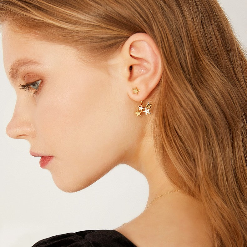 asymmetric crystal star earring on girl
