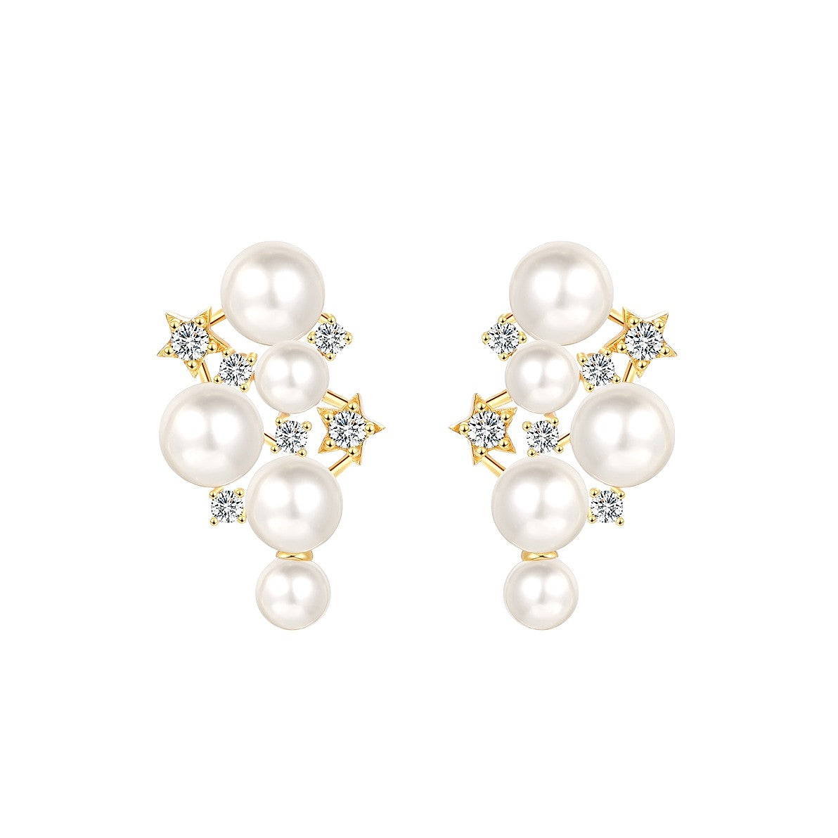 multi-pearl earrings accessorized with a series of crystal golden stars displayed on white background