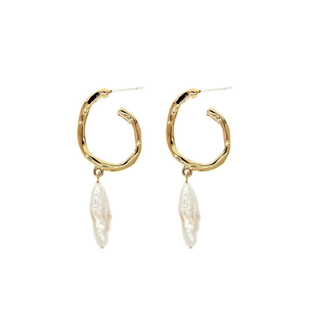 baroque pearl golden hoops displayed on white background