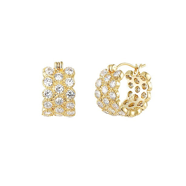golden micro hoop earrings with lace texture and crystal displayed on white background