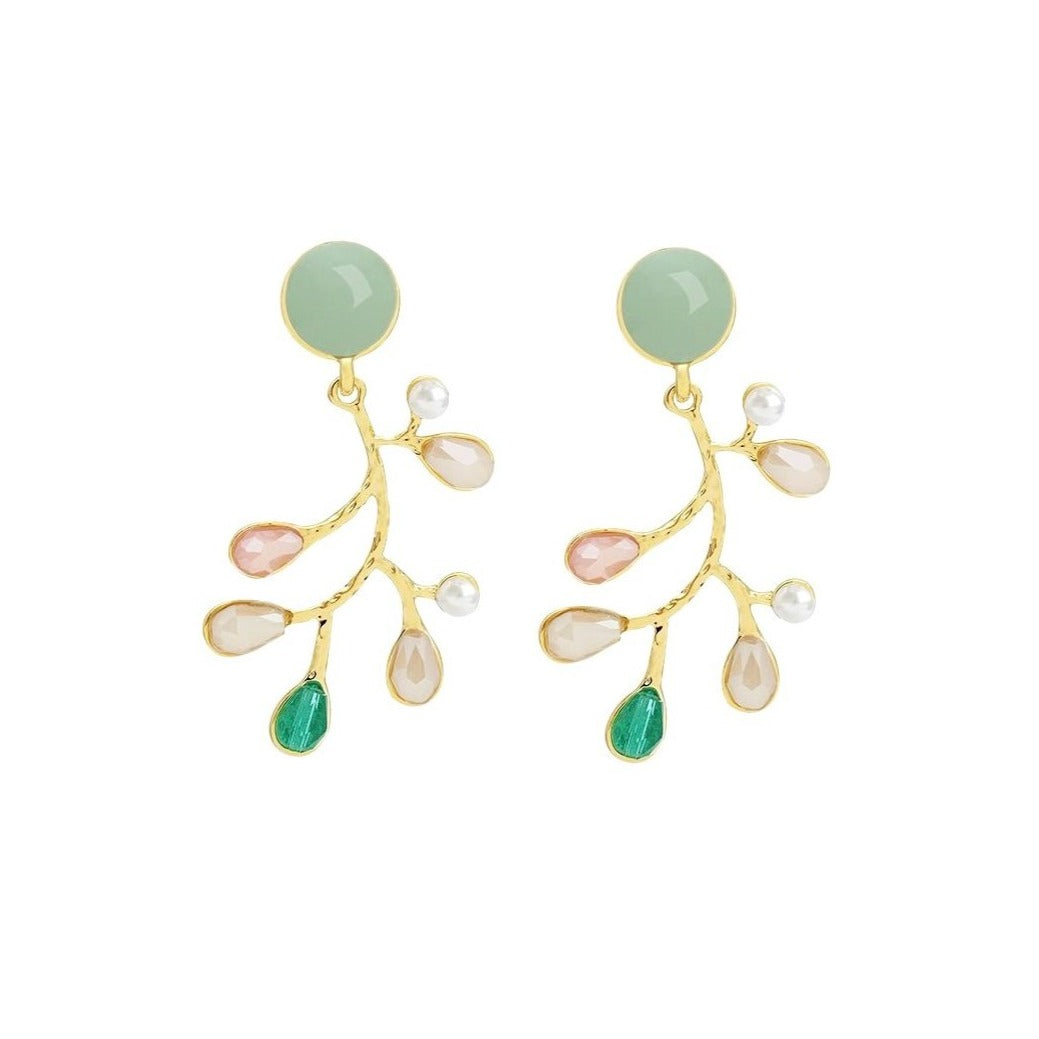 flower branch drop earrings embellished with teardrop displayed on white background
