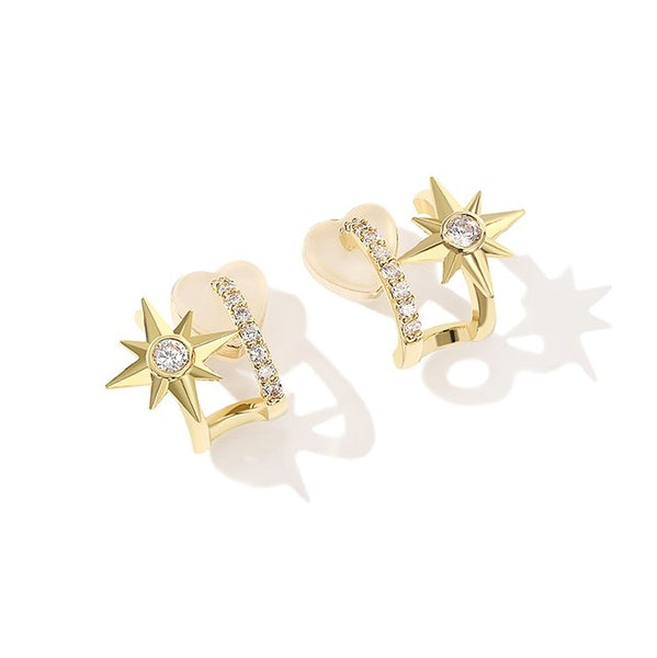 golden double bars earrings decorated with zircons and a star