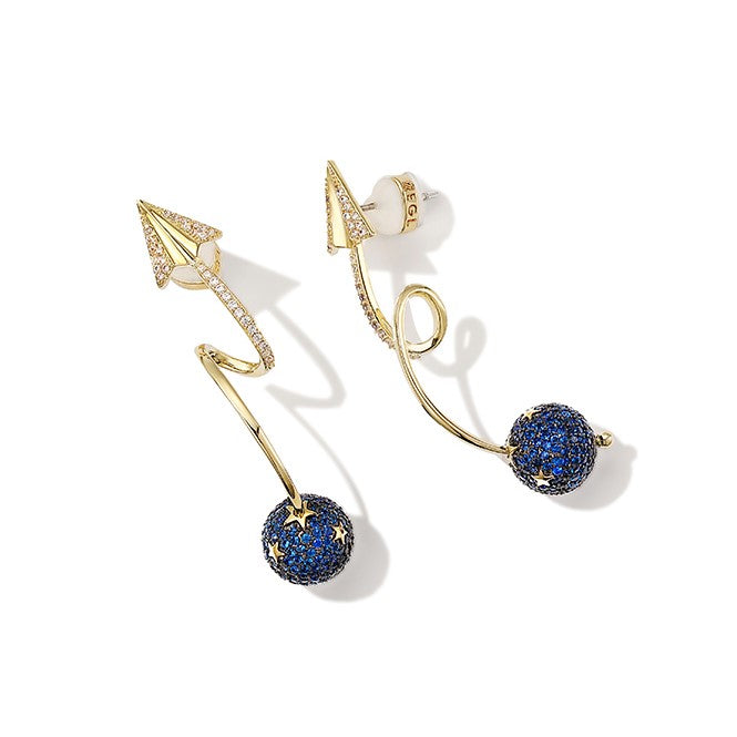 golden earrings in twisted arrow shape with blue rhinestone ball