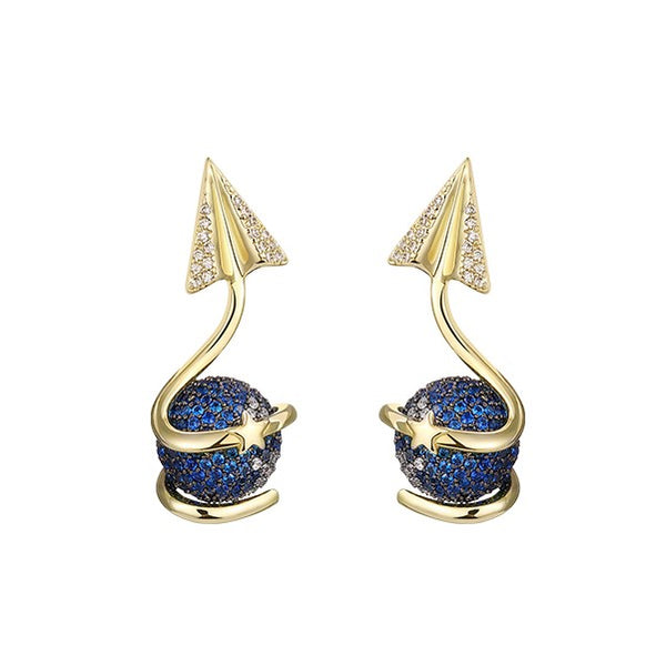 golden drop earrings with blue rhinestones and a star shape arrow pointing upwards