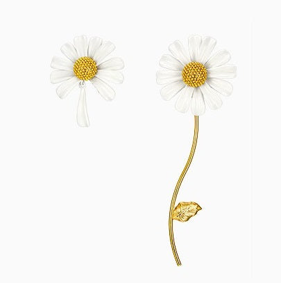 enamel painted daisy earrings displayed on white background
