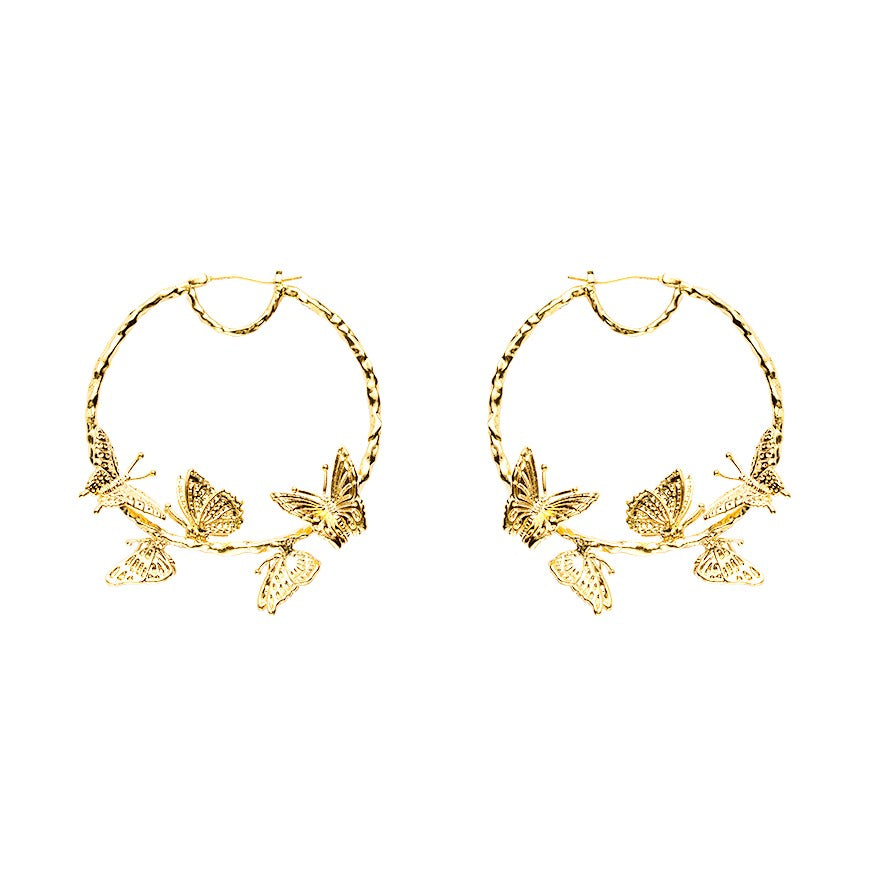 Monarque golden hoop earrings featuring five butterflies displayed on white background