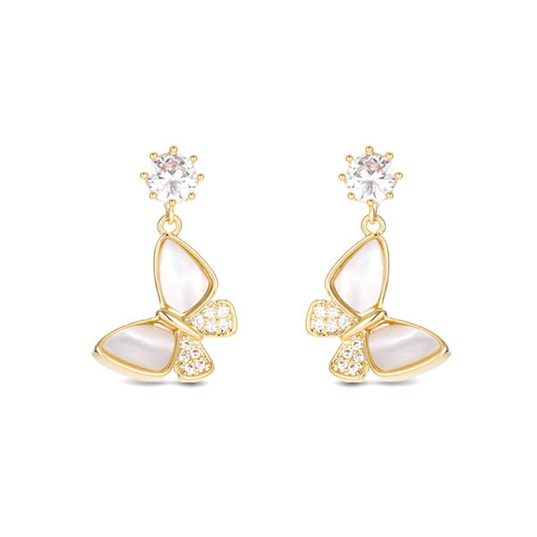 golden butterfly drop earrings displayed on white background