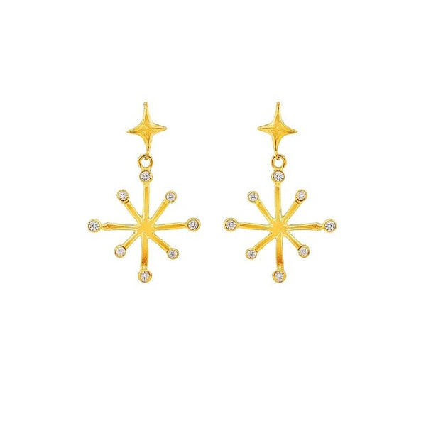 eight pointed gold star earrings with crystal finishes displayed on white background