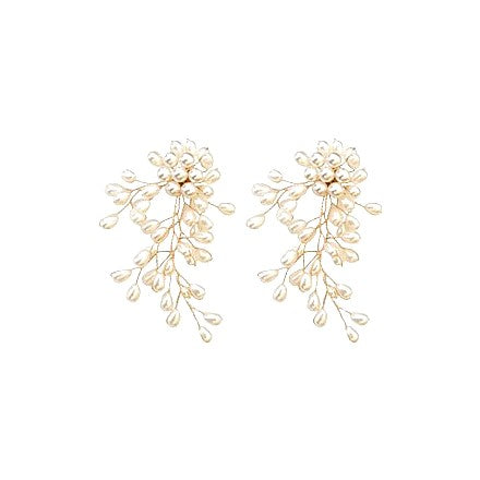 pearl chandelier earrings displayed on white background
