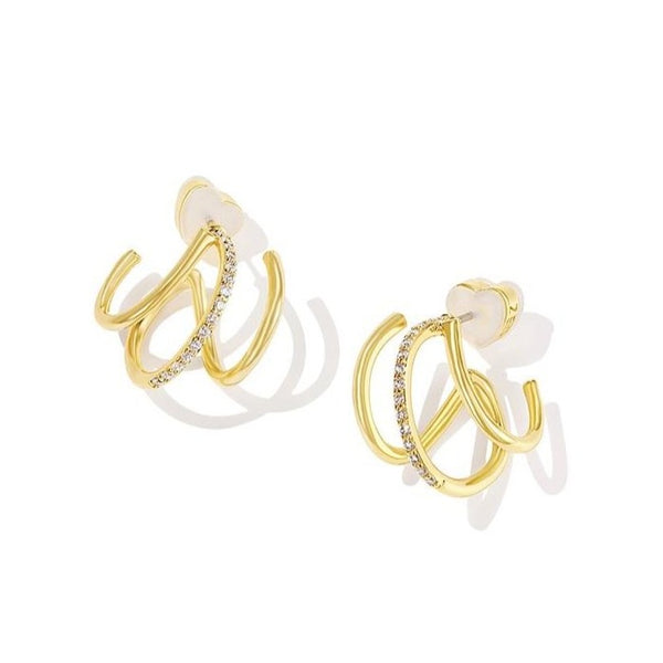 twisted triple golden zircon bars earrings