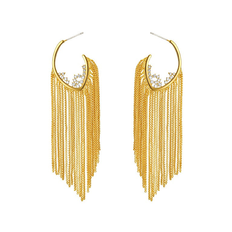 gold tassel earrings displayed on white background