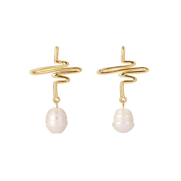 Golden pearl drops set in a swirled modern silhouette displayed on white background
