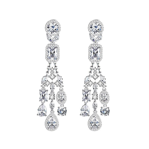 crystal drop earrings displayed on white background