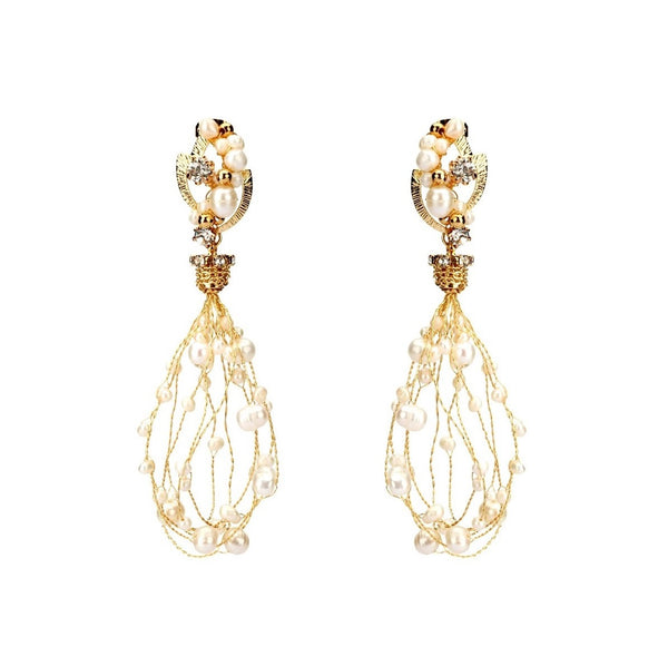pearl net earrings embellished with handmade gold threads and sparkling crystals on white background