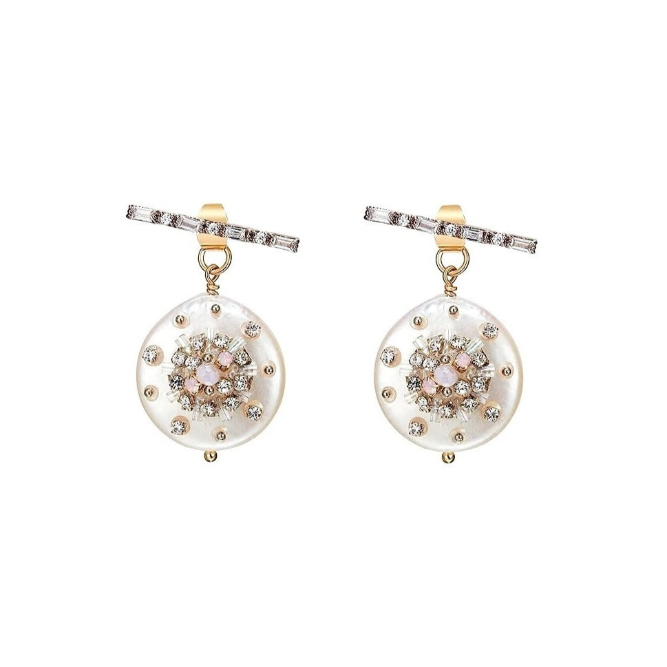 freshwater baroque-pearl drops with crystals displayed on white background