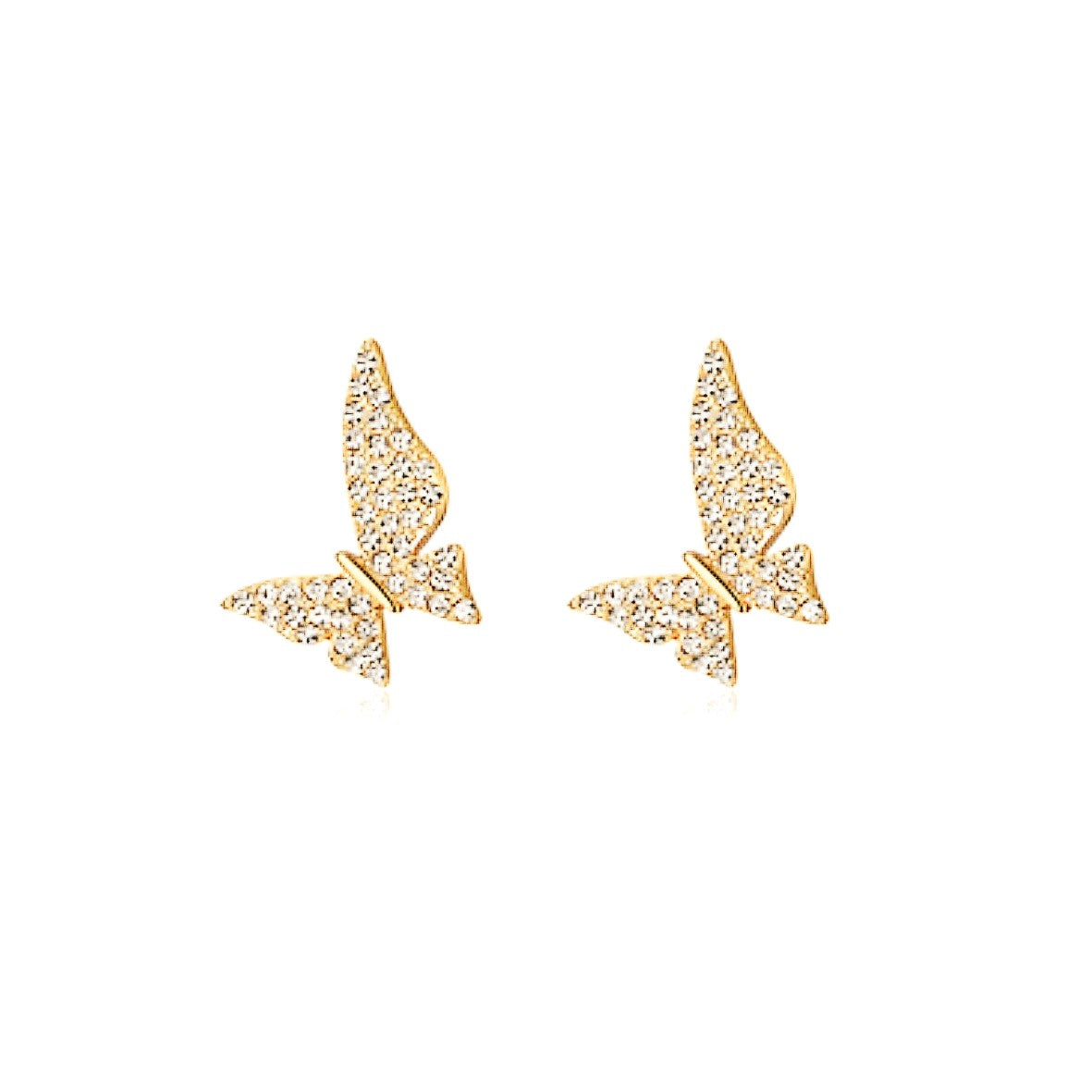 golden crystal butterfly earrings displayed on white background