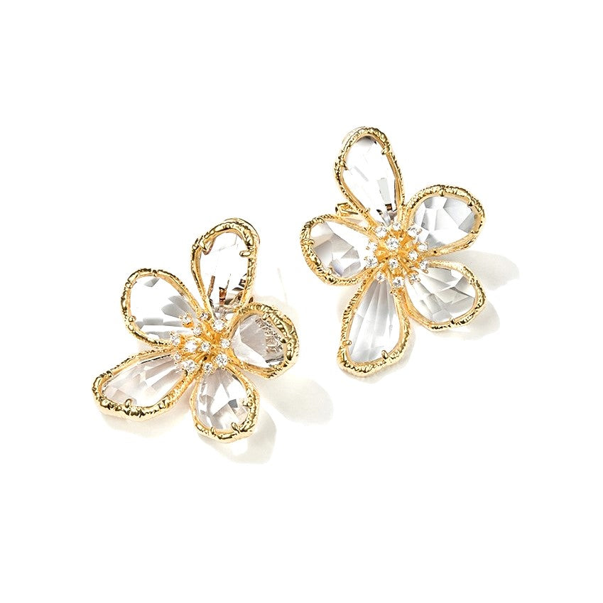 crystal flower earrings displayed on white background