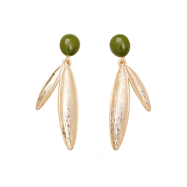 golden leaf drop earrings displayed on white background