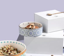 Load image into Gallery viewer, Quatre Silver Bowls - Small and Large - Lifestyle with Boxes