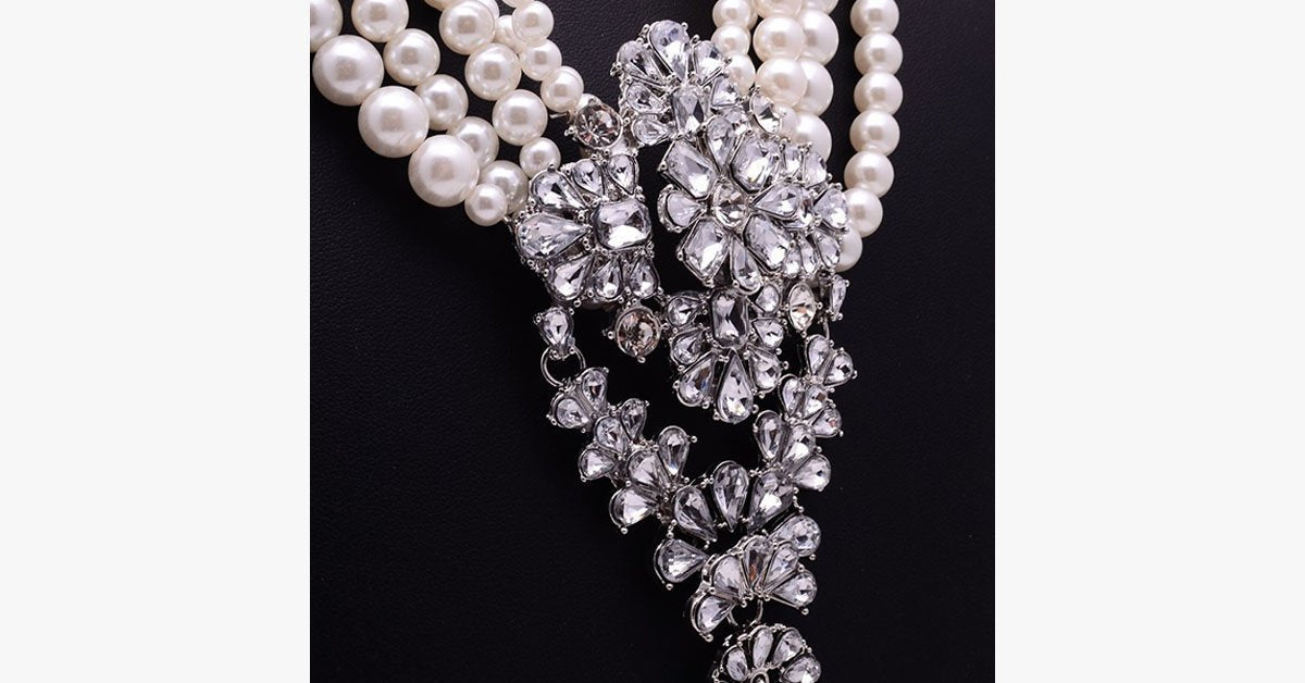 Royal Rhinestone Pearl Beads Long Necklace