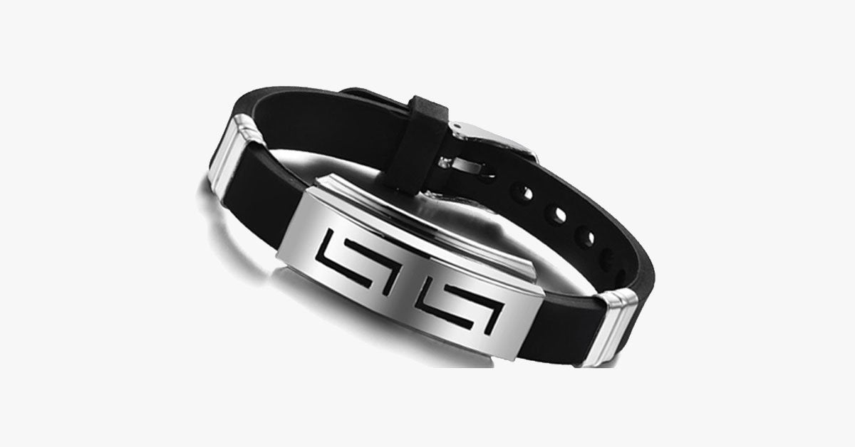 Men's Stainless Steel and Black Rubber Bracelet