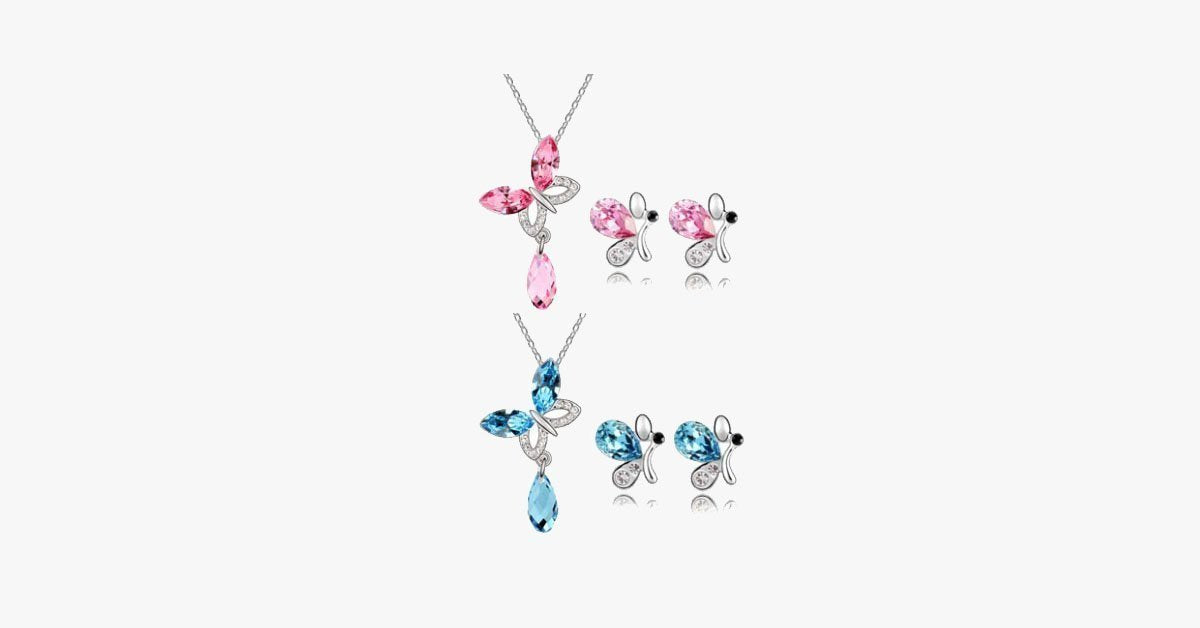 Butterfly Necklace and Earring Family Set