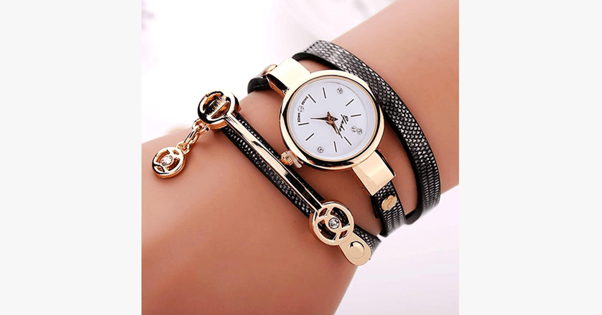 Gold Charm Wrap Watch - Multi Color Vegan Leather Watch for Stylish People