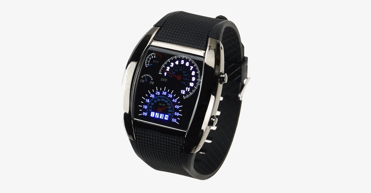 Stylish Car Race Design LED Digital Men's Watch