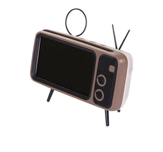 TV Retro Style Bluetooth Speaker With Mobile Phone Holder