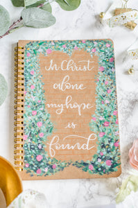 In Christ Alone - Lined Gold Coil Bound Journal